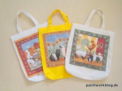 Stofftaschen selbst mit Patchwork verschönert